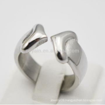Wholesale Women Stainless Steel Romantic Heart Arrow Ring