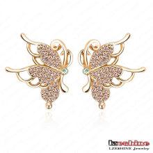 Neues Gold überzogene Schmetterlings-Bolzen-Ohrringe (ER0075-C)