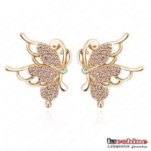Novo ouro banhado a borboleta Stud Earrings (ER0075-C)