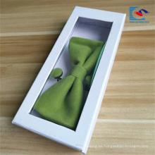 Caja de empaquetado de la corbata de lazo blanca de encargo del precio bajo con la ventana del PVC