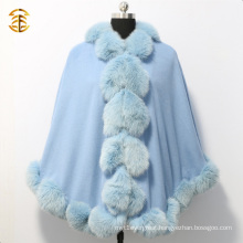 New Fashion Women Blue Cashmere Cape with Big Fox Fur Trim
