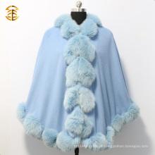 New Fashion Women Blue Cashmere Cape com Big Fox Fur Trim