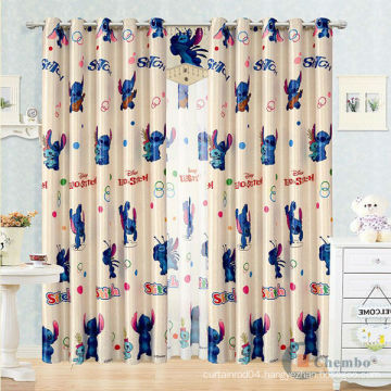 Double swag manual control kids cartoon curtains
