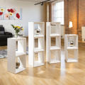 White finish open back vertical type wood bookcases