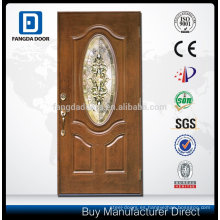 3/4 Scroll Top 2 Panel Fogglass Manogany Door