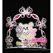 best design colored full crystal butterfly bear wholesale tiara