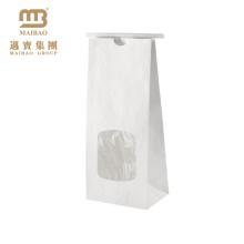 Atacado Food Grade Side Gusset Personalizado 1 Lb 1/2 Lb Branco Claro Janela Tin Tie Coffee Kraft Saco De Papel