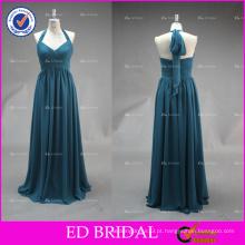 ED Bridal Dark Green Custom Made Halter Ruffle Chiffon Long vestido de dama de honra