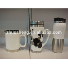nuevos productos producto innovador 2015 acero inoxidable fondo porcelana cerámica taza, taza del regalo