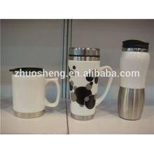 novos produtos produto inovador 2015 aço inoxidável fundo porcelana cerâmica caneca de viagem, caneca de presente