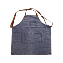 2017KEFEI denim apron with leather
