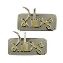 Nickel Free Fashion Letter Logo Embossed Metal Plate