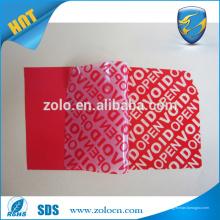 Fita de vedação de cartão personalizada, etiqueta anti-falsificação de vedação vazia para embalagem