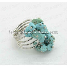 Turquoise chip stone wrap rings