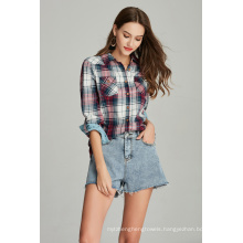 cotton check shirt plaid ladies shirt blouse