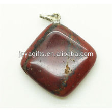 Fashion natural red stone rhombus pendant semi precious stone pendant