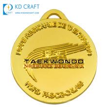 Hot selling cheap custom metal stamping shiny gold plated embossed 3d logo enamel sport taekwondo medal