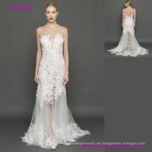Los vestidos de boda más nuevos de una línea 3D de encaje gris de tul