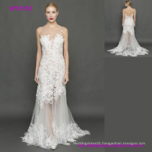 Newest A Line 3D Flowers Lace Grey Tulle Wedding Dresses