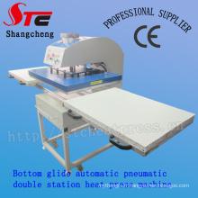 Pneumatique Grand Format Double Stationheat Press Machine 60 * 80cm fond automatique Glide chaleur transfert Machine vente chaude T Shirt impression de transfert Machine Stc-Qd07
