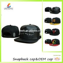 Los sombreros planos de encargo baratos de la insignia del cuero del snapback 6 de la insignia forman el casquillo de los deportes del algodón del béisbol