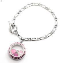 Mgnetic conception 316l en acier inoxydable bijoux NK chaîne vivant flottant verre souvenir médaillon bracelet