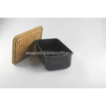 bamboo fiber bread box with lid