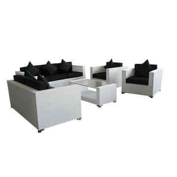 Muebles al aire libre mimbre blanco negro cojín sofá