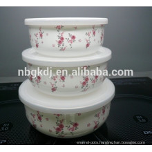 3sets flowers decals enamel ice bowl & enamels cookware & enamel cup