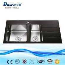Évier de quartz de double évier de cuisine en verre trempé noir approuvé par CE avec le drainboard