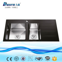 CE approved Black tempered glass double kitchen sink quartz sink with drainboard