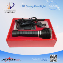 Jexree waterproof fishing light Led diving torch 8.4v 2500LM led lamp with battery 18650