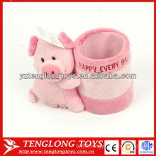 Cartoon pig shaped stuffed pink plush pencil holder for kids