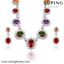 Mode De Luxe Rhodium Fleur -Shaped CZ Diamond Jewelry Set pour le mariage 62949