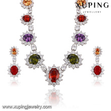 Fashion Luxury Rhodium Flower -Shaped CZ Diamond Jewelry Set for Wedding 62949