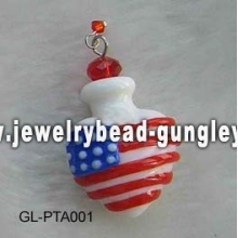 USA flag shape lampwork perfume bottle