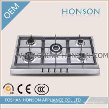 Cocina de gas de acero inoxidable 5 quemadores