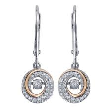 925 Silver Dangle brincos com jóias de diamante de dança