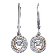 Серебряные серьги 925 Серебряные серьги с танцующими бриллиантами