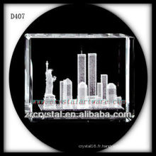 K9 3D Laser Statue de la Liberté à l'intérieur du rectangle de cristal