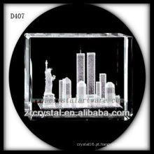 K9 3D Laser Estátua da Liberdade Dentro Retângulo de Cristal