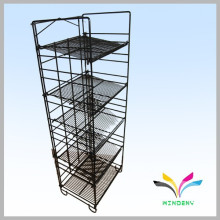 4 tier black flooring collapsible sturdy wire metal stocking display rack