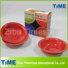Handgemalte Steinzeug-Suppenschüssel Set