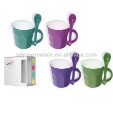 Taza de café colorida de Speical con la caja de color de la cuchara para BS130520B