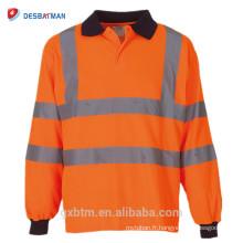 T-shirt bon marché réfléchissant de Polo de sécurité routière de haute visibilité orange / jaune d'OEM de douille avec l'impression faite sur commande de logo
