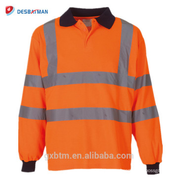 Camisa barata del polo de la seguridad vial reflectante de la manga larga anaranjada / amarilla del OEM hola con la impresión de encargo del logotipo