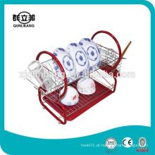 Cremalheira de secagem de prato de ferro vermelho de ferro multifunções com suporte de pauzinho de plástico