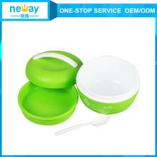 Caixa de almoço plástica da preservação do calor do vácuo biliar com colher