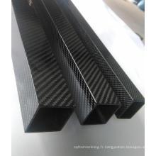Tube carré en fibres de carbone à armure toile sergé 3K