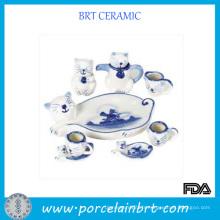 Service à thé en porcelaine motif chat